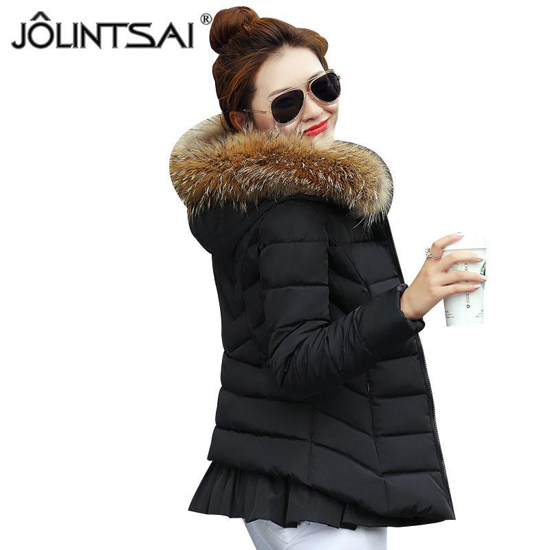 a879a1ce126d 2019 JOLINTSAI 2017 Women Winter Jackets Fur Hooded Wadded Parkas Cotton  Short Female Winter Jacket Coat Girls Outerwear From Brry, $46.6 |  DHgate.Com