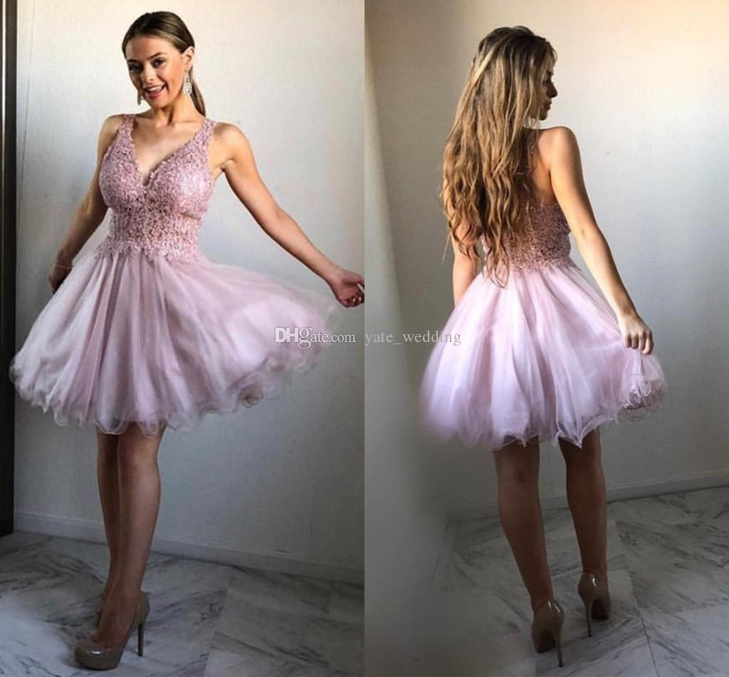 9ccf4c11400 Dirty Pink Tulle Lace Homecoming Dresses V Neck Sheer Straps Knee Length  Puffy Custom Made Short Prom Dresses Dress On Sale Dress With Lace From ...