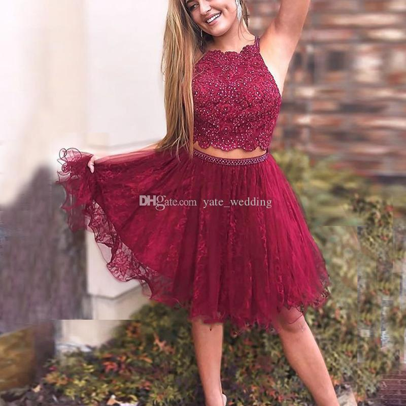 c022dc19045 Cute Two Piece Short Homecoming Dresses Lace Tulle Beading Burgundy Red Short  Prom Dresses With Straps Elegant Party Dresses Dress For 2015 Dresses Of  2015 ...