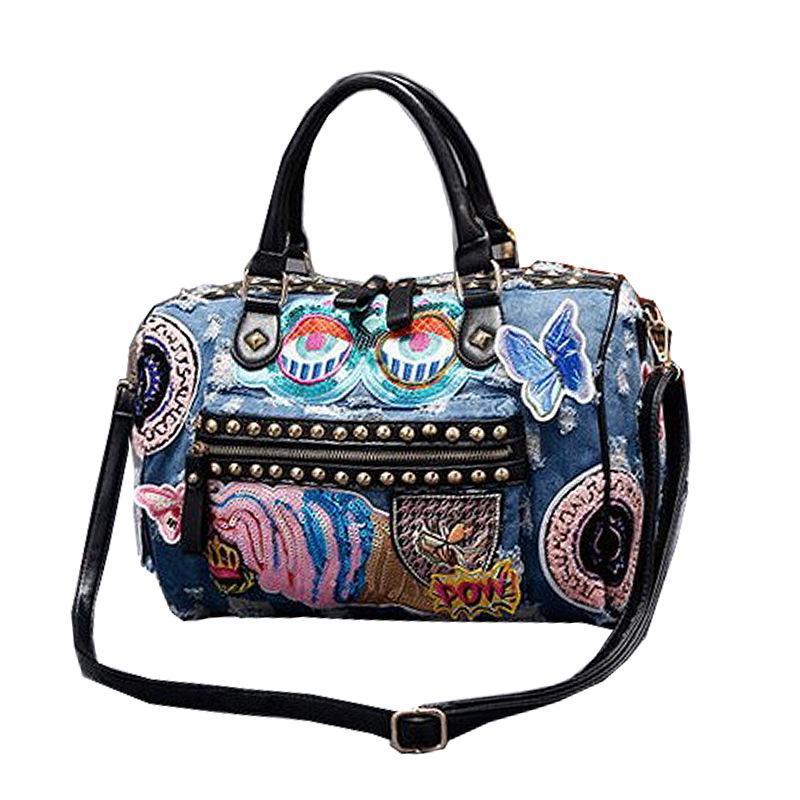New 2018 Women Luggage Travel Bags Cute Cartoon Daypack Denim Bags Handbags  Fashion Shoulder Bag Female Crossbody Sac Bohemian Fashion Handbags Large  ... a4003cccca