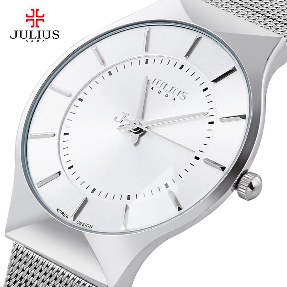 7f911d7c71a Top Brand Julius Men Watch Stainless Steel Band Analog Display Quartz  Wristwatch Ultra Thin Dial Men S Watches Relogio Masculino Trendy Watches  Affordable ...
