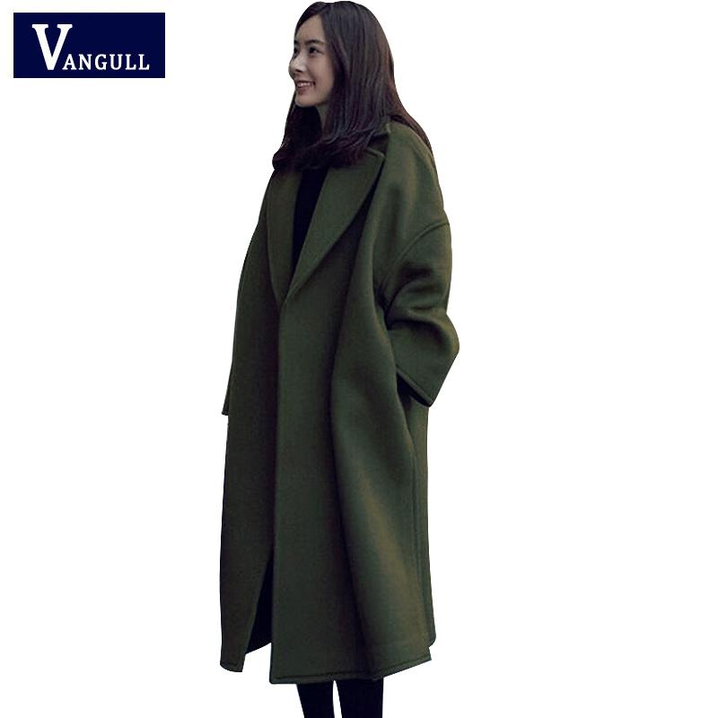 eb743ed535a5 2019 New Winter Vintage Women Long Woolen Coat Ladies Elegant Long Jackets  Army Green Pocket Faux Wool Warm Coats VANGULL 2018 New From Cashmere52