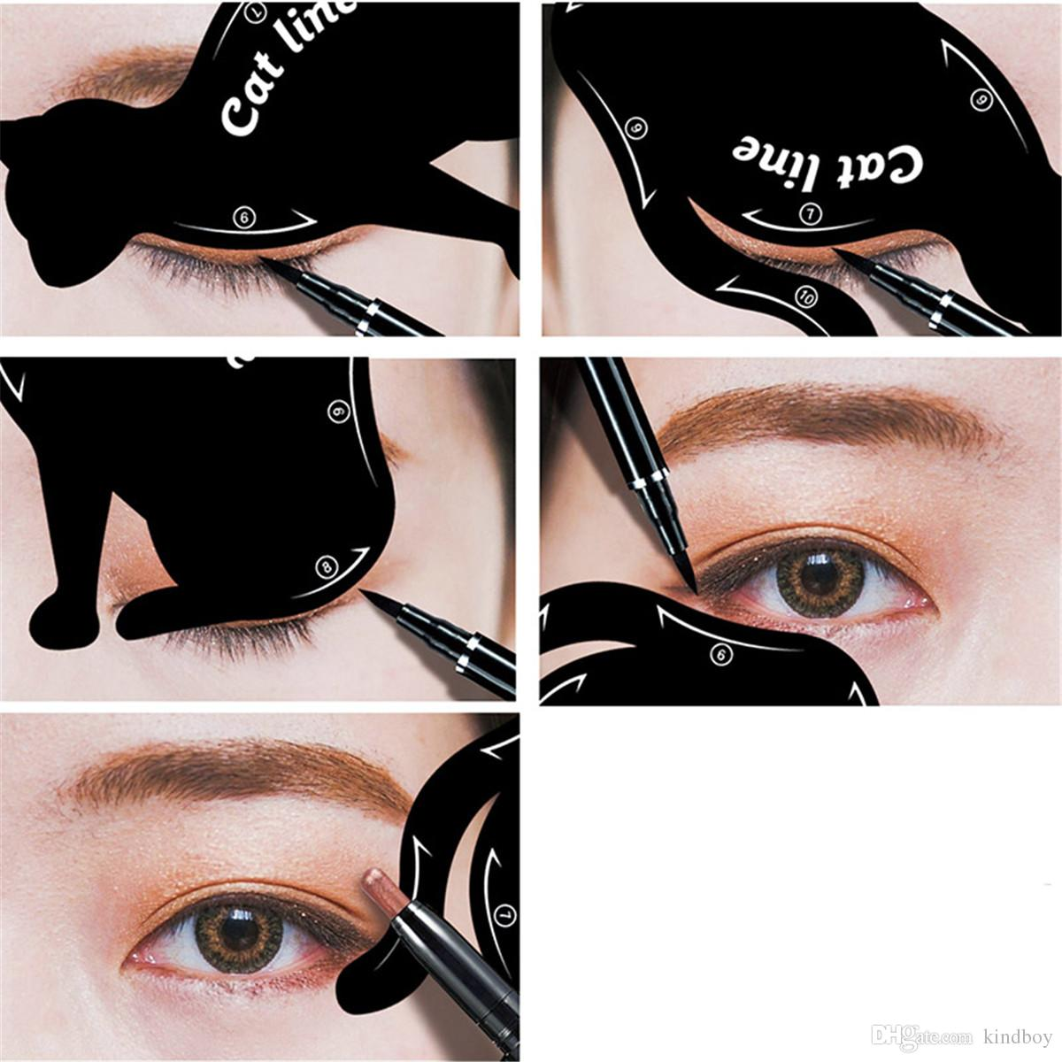 New Cat Line Eye Makeup Eyeliner Stencils Templates Makeup Tools Kits For Eye Beginners Efficient Eyeline Card Tools DHL