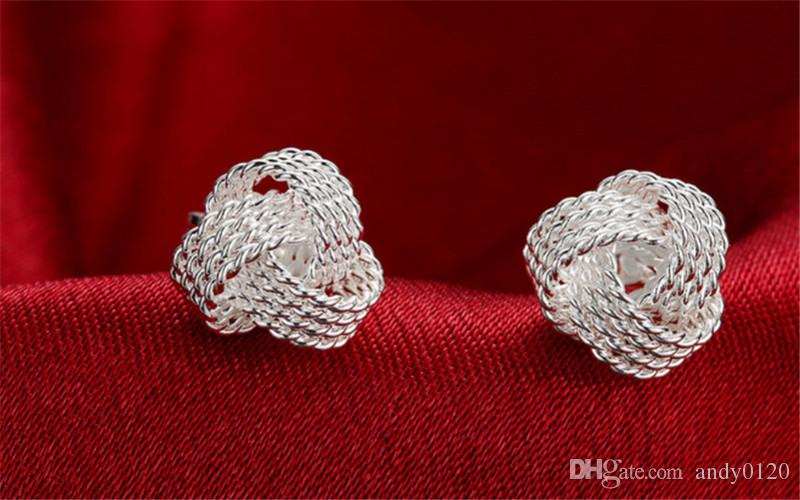 High Quality 925 Sterling Silver Weave Knot Ball Stud Earrings For Women Fashion Party Fine Jewelry