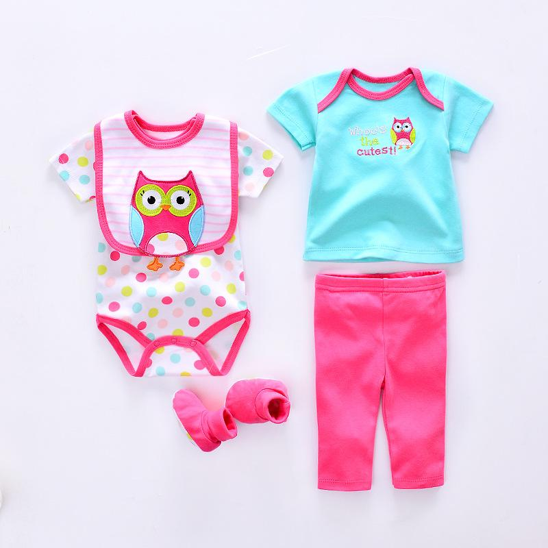 Summer Baby Clothing Sets Cotton Baby Girl Clothes Newborn 5pcs Suit Infant Cute Owl/cat/cow/Lion Romper+pants+socks+Bib+shirt