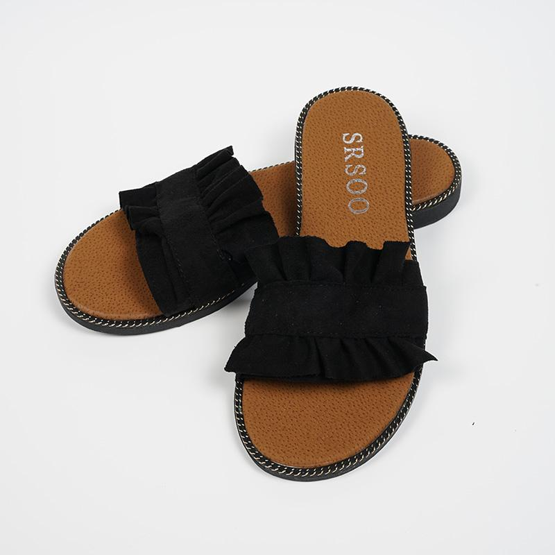 Senza Fretta Verano Mujer Zapatos Belleza Zapatilla Hongo Negro Encaje Suede Zapatillas Casual Playa Mujer Sandalias Zapatillas es