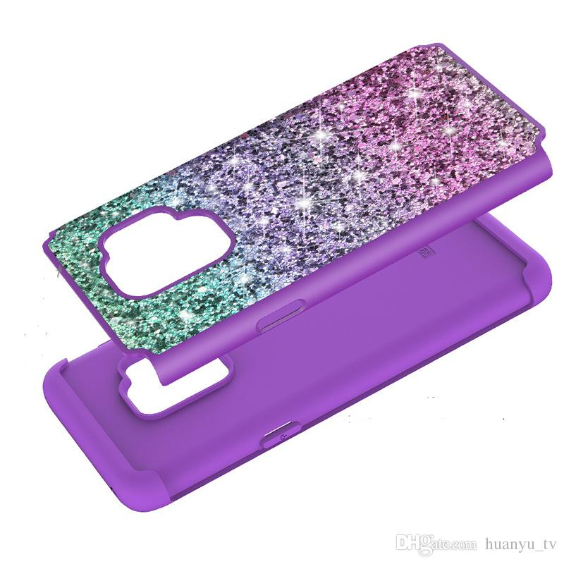 Gradient Bling Glitter Shockproof Cell Phone Case Cover For Samsung Galaxy S9 S9 plus J3 2017 J7 2017 TPU+Skin case Oppbag