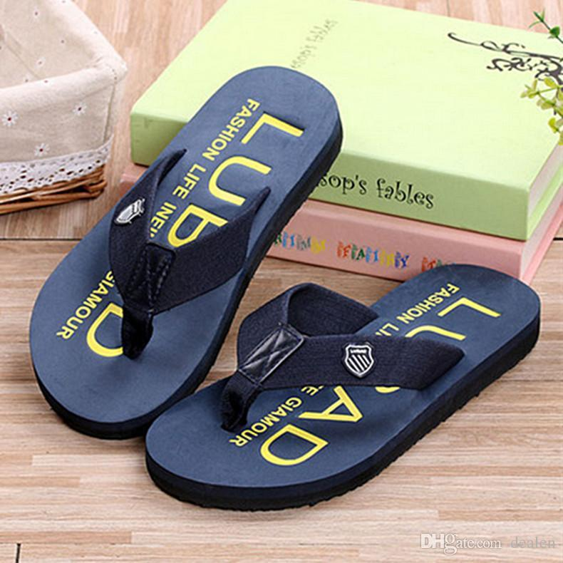 19c3df1781fec Compre Chanclas Planas Al Por Mayor 2016 Zapatillas Para Hombre Zapatos De  Verano Ocasionales Sandalias De Los Hombres De La Playa Chanclas A  23.56  Del ...