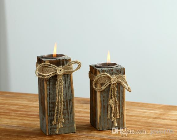 Vintage Wooded candle holder wedding Xmas wood tea candle holders coffee bar home party table decor handmade candlestick favors
