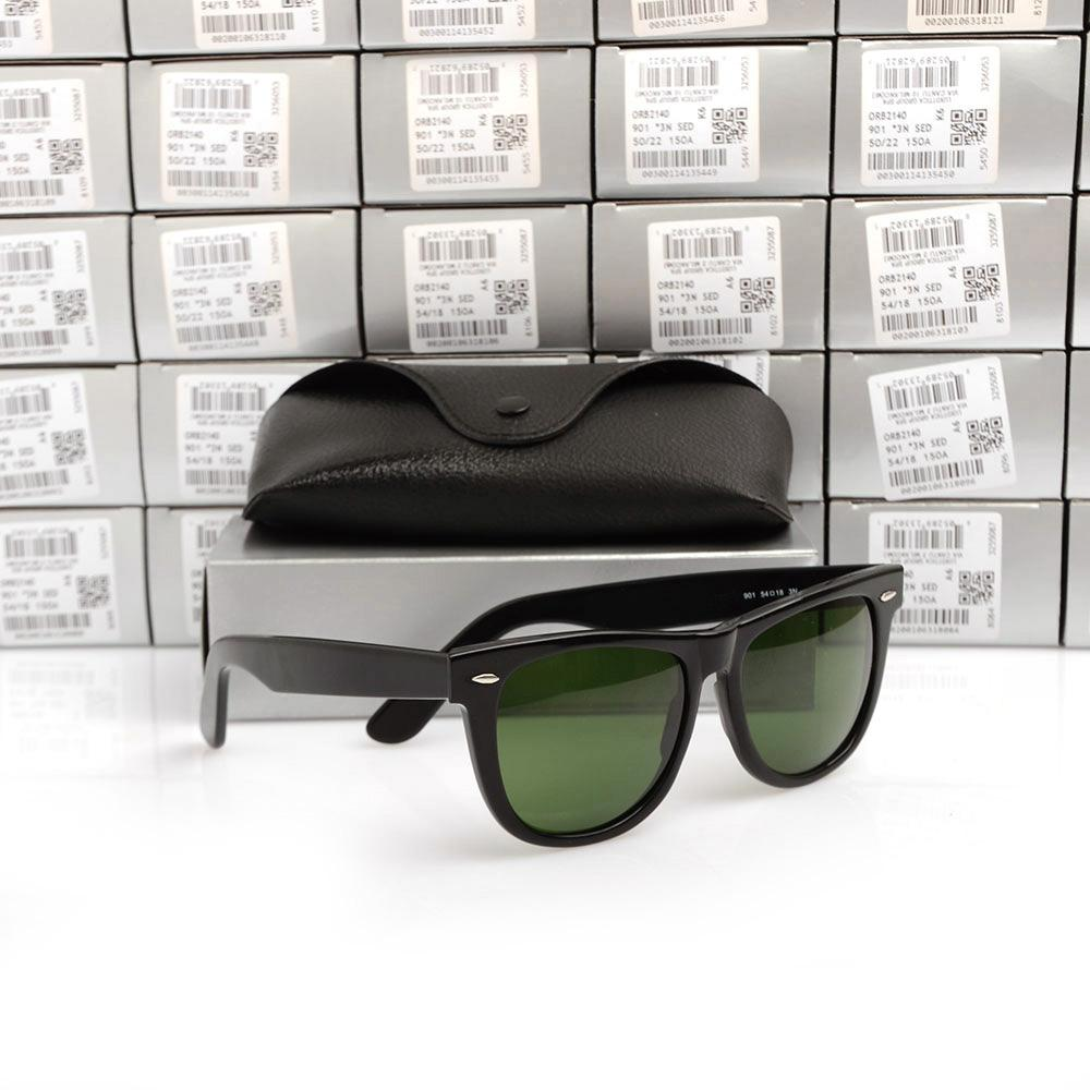 Free EMS beach sun glasses High Quality Plank black Sunglasses glass Lens black Sun glasses Black Frame Green Lens Come With Box