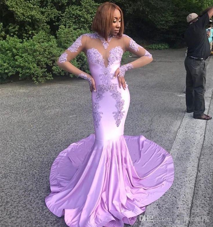 South African Lavender Mermaid Prom Dresses Long Jewel Lace ...