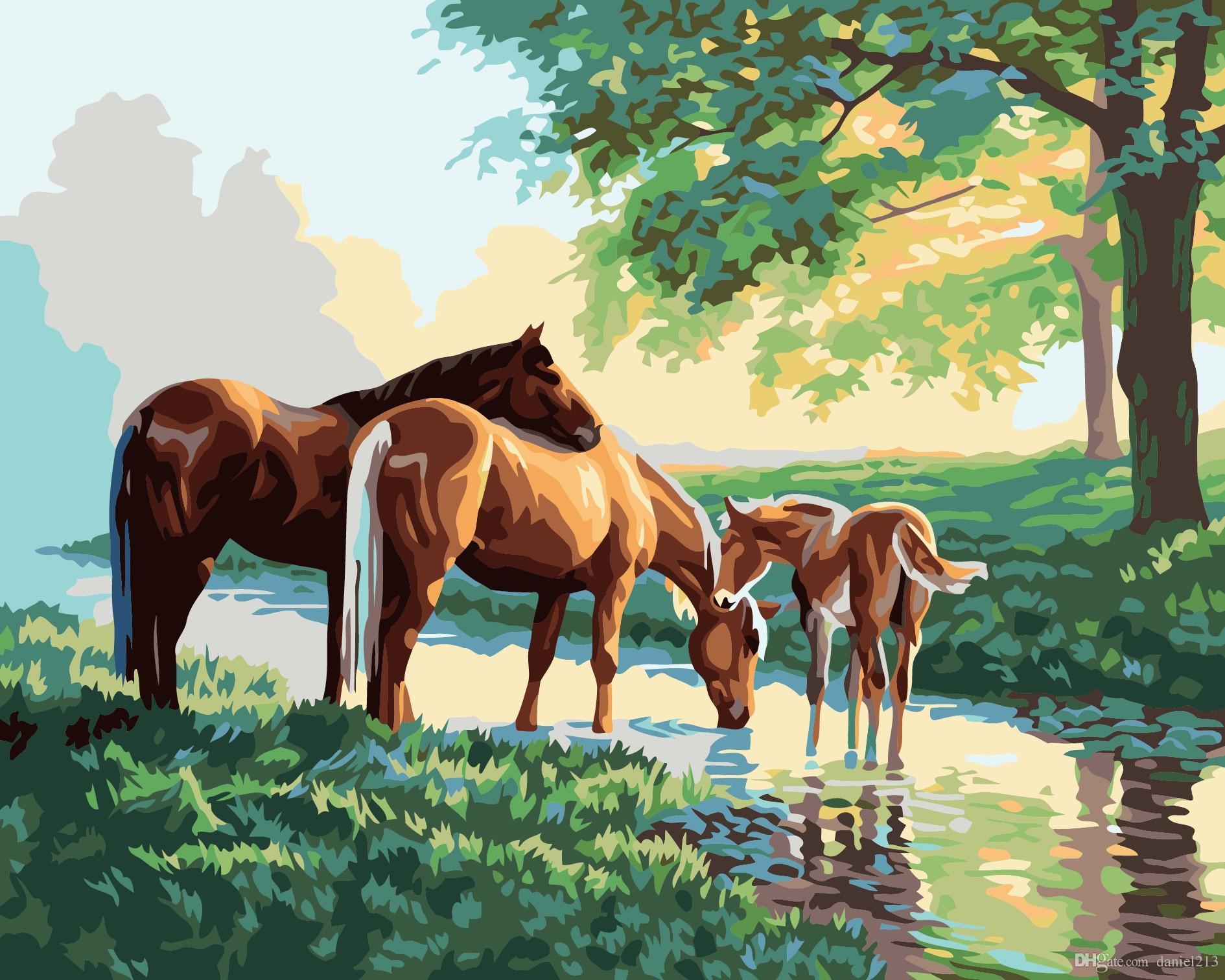 Großhandel 16x20 Zoll Wald Wilde Pferde Trinken Wasser Diy Malen Auf ...