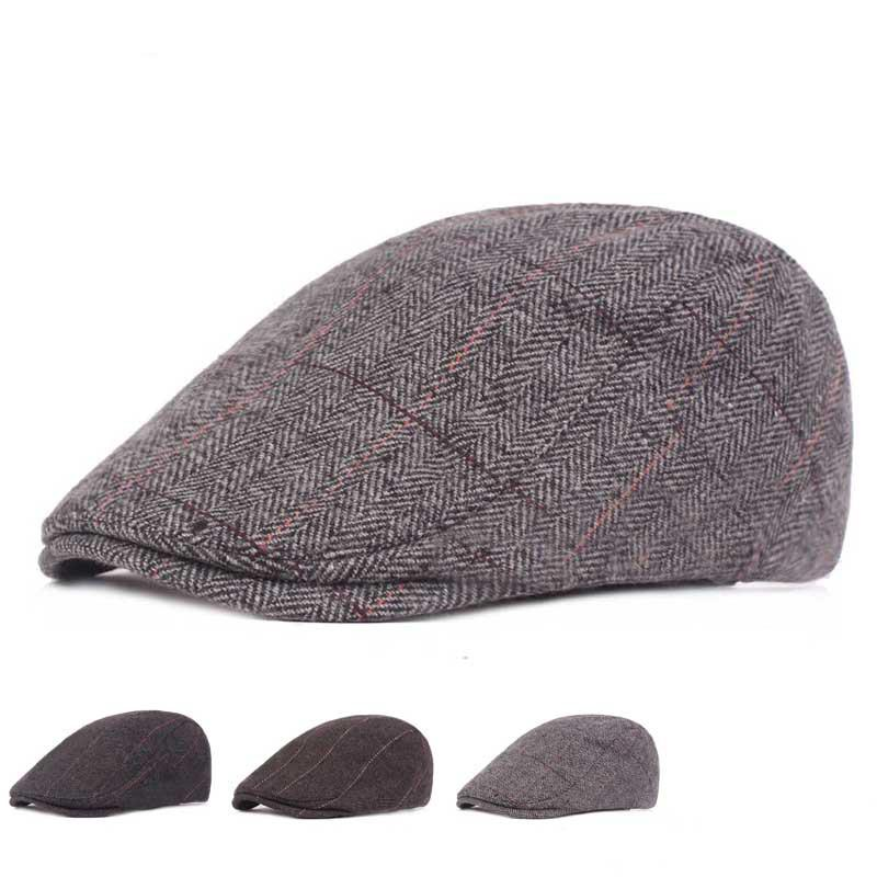 4502c1ee7ced 2019 Autumn Winter Wool Felt Men Newsboy Hat Flat Ivy Gatsby Cap ...