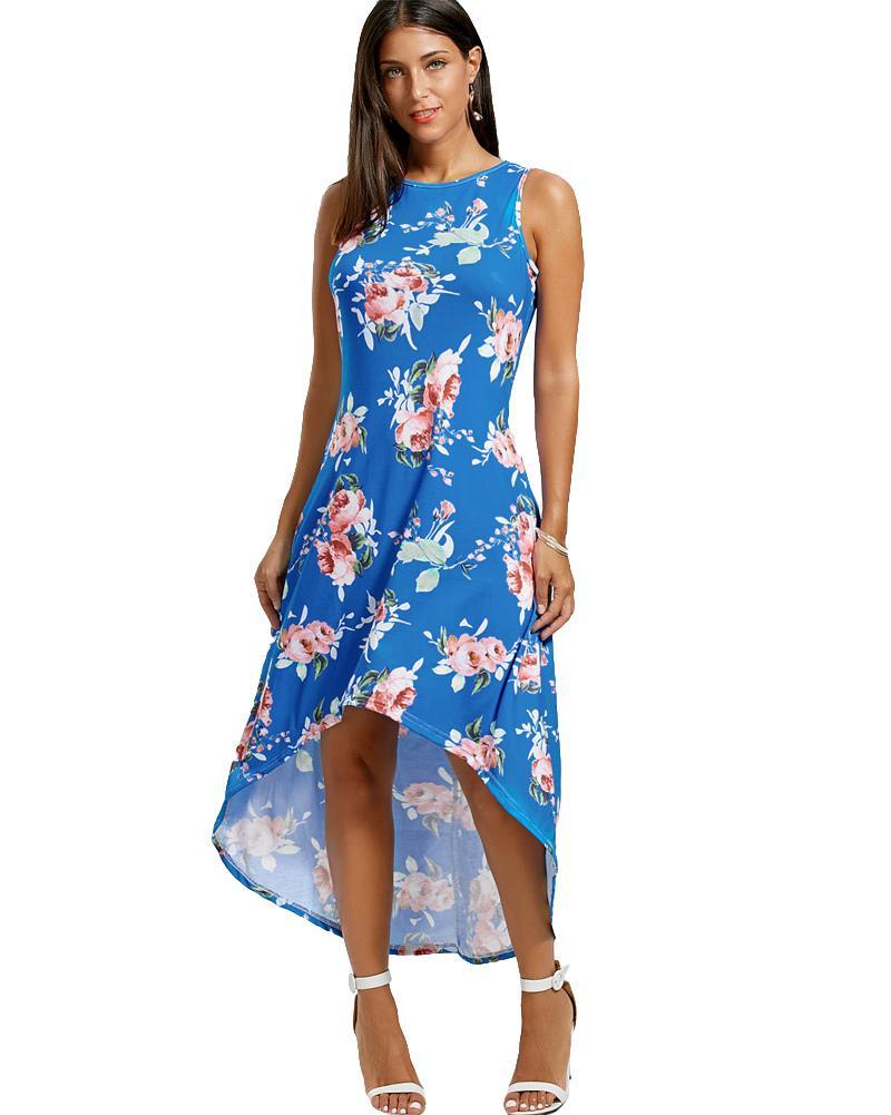 e47a4a7e4 Compre Moda Mujer Vestido Asimétrico Maxi Estampado Floral Sin Mangas  Vestido De Verano Alto Bajo Dobladillo Informal De Vacaciones Boho Vestido  Largo ...