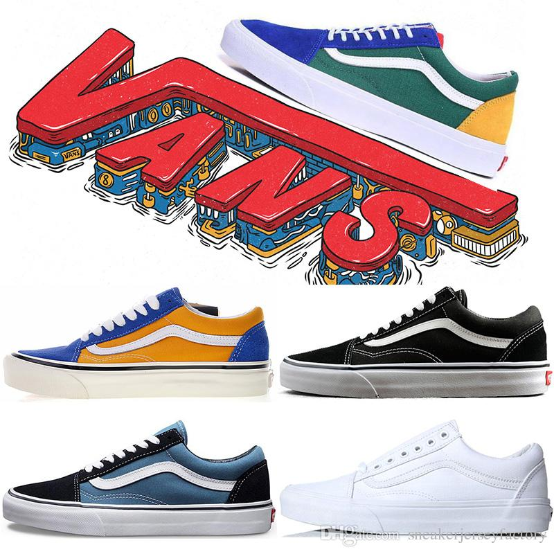 1f3d9b90daf New Arrival Original Vans Old Skool Shoes Black Blue Red Classic ...