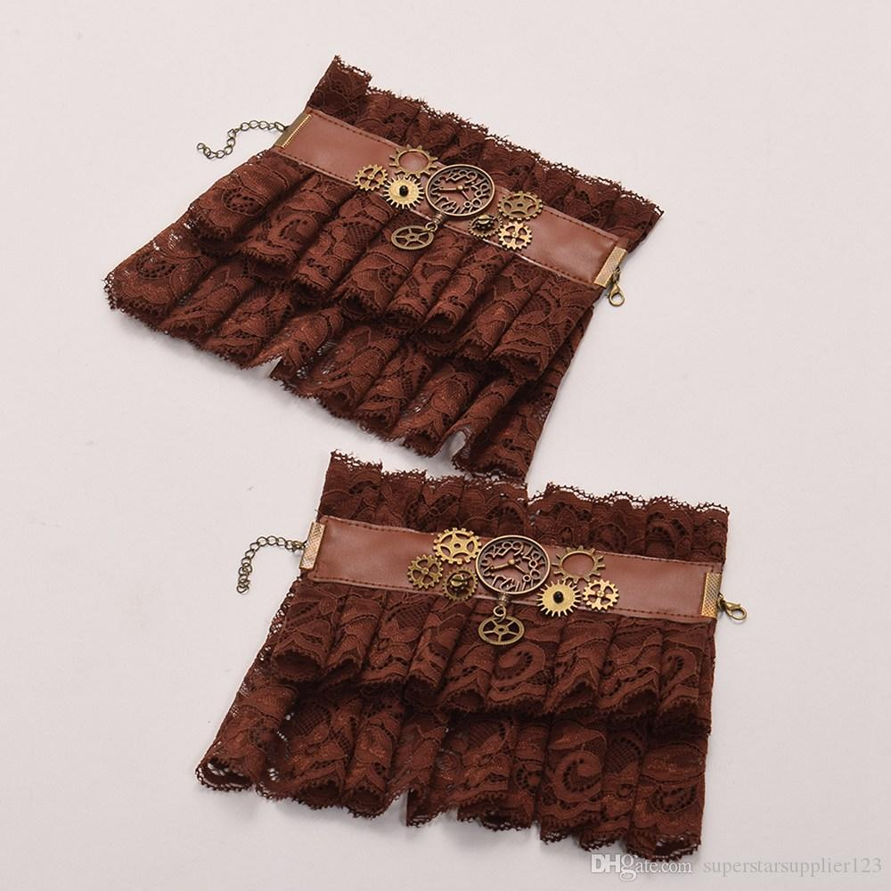 Women Steampunk Gear Brown Lace Wrist Cuff Vintage Wristbands Party Cosplay Accessory High Qauality