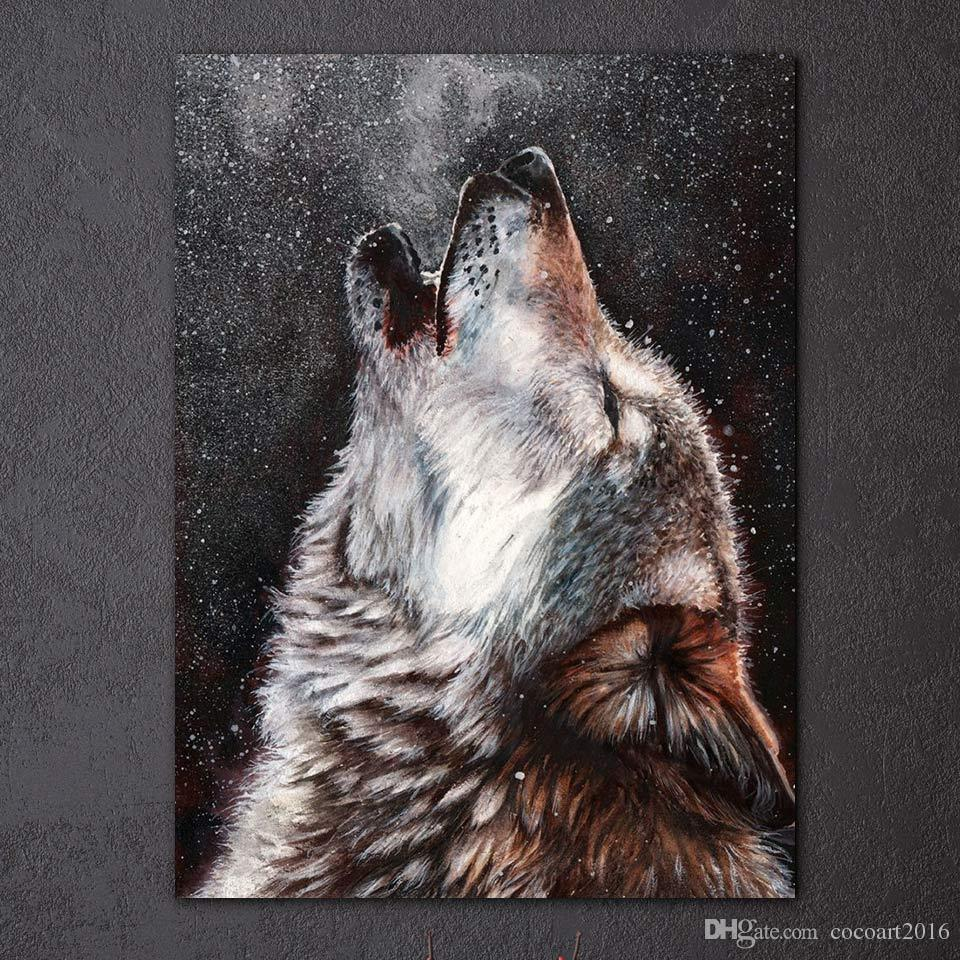 2019 Hd Printed Canvas Art Howling Wolf Painting Abstract