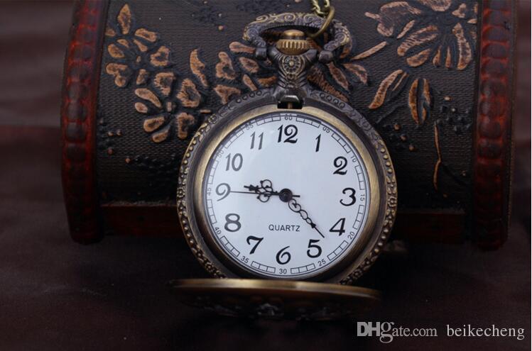 Toptan 50 adet / grup Antik Bronz Baba Desen Kuvars Pocket saat ile Kolye Fob İzle Babalar Günü Hediye PW039