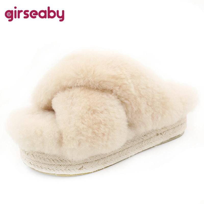 d0fff9292c5f Girseaby Top Quality Winter Women Faux Furry Slippers Platform Outdoor  Slippers Ladies Home Thick Fur Fluffy Slides Casual Shoes Glass Slipper  Blue Shoes ...