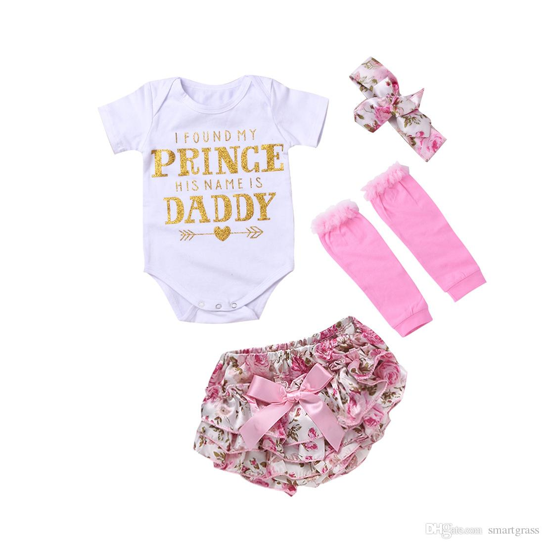 dcf9a0c36a345 2019 Newborn Baby Girl Rompers Clothes Sets Fashion Short Sleeve Romper  Lovely PP Short Leggings Flower Headband Baby Clothes 17121502 From  Smartgrass, ...