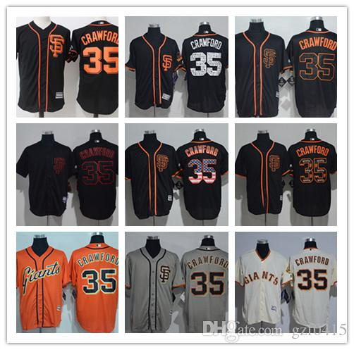 separation shoes 508d7 341e0 Men's women youth Majestic SF Giants Jersey #35 Brandon Crawford Orange  Grey Baseball Jerseys