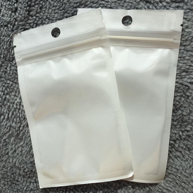 Wholesale 18*26cm White/Clear Self Seal Zipper Plastic Retail Packaging OPP Poly Bag, Ziplock Zip Lock Bag Package with Hang Hole