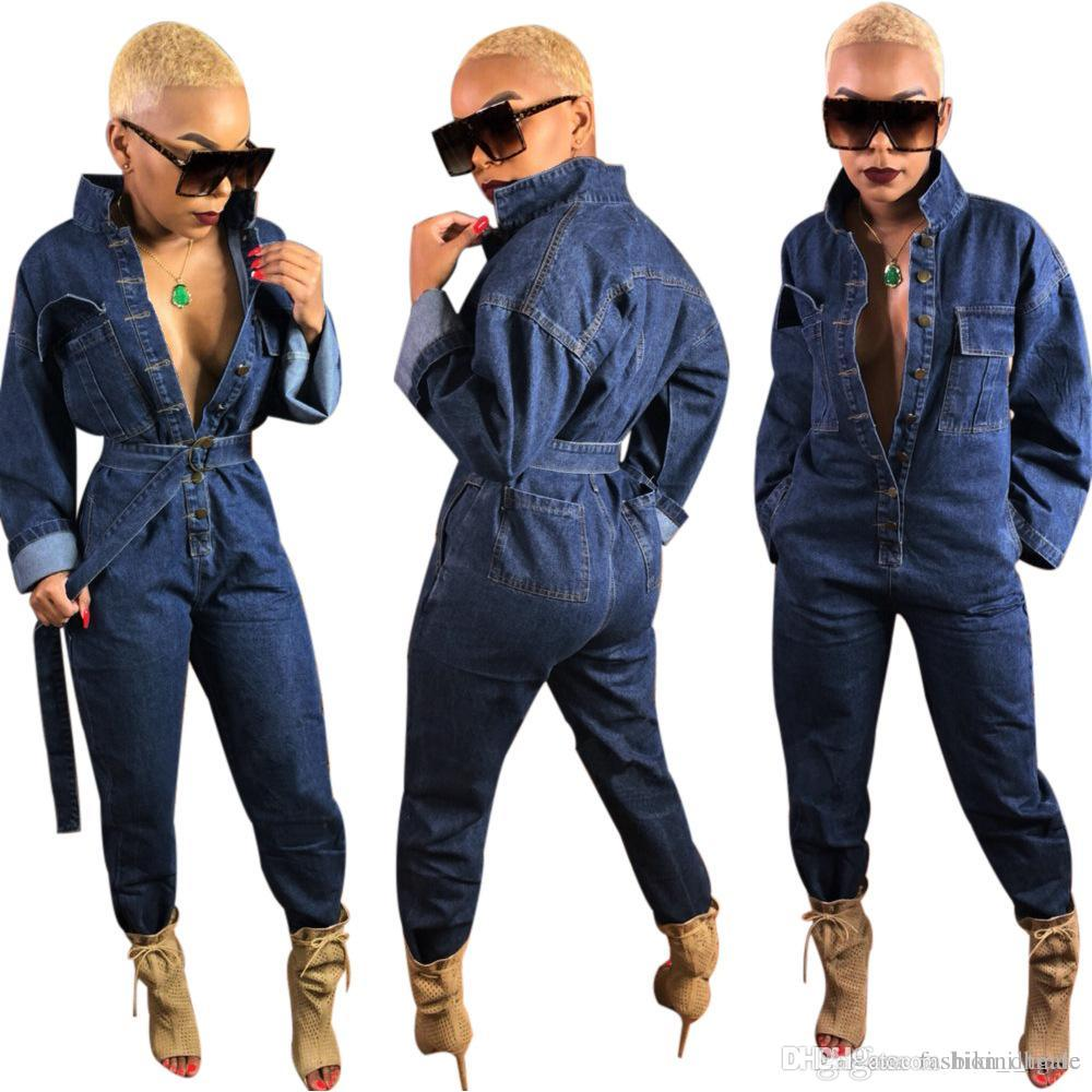 f21e091698d 2019 NEW Button Up Sexy Denim Jumpsuit Women Turn Down Collar Full Sleeve  Causal Romper Autumn Pockets Spliced Straight Overall From Bikini trade