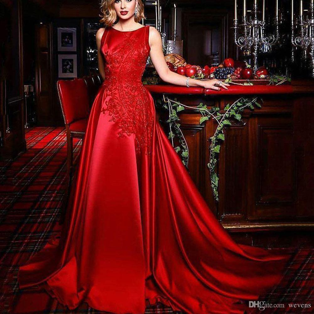 96a39fff7d Hot Sale Red A Line Long Prom Dresses Scoop Neck Lace Appliques Sequin  Evening Wear Ruffles Skirt Prom Gowns Long Cheap Prom Dresses Long Prom  Dresses Under ...