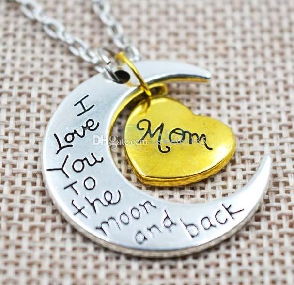 / Antique famille d'argent je t'aime à la lune et retour maman papa soeur frère fille fils coeur collier