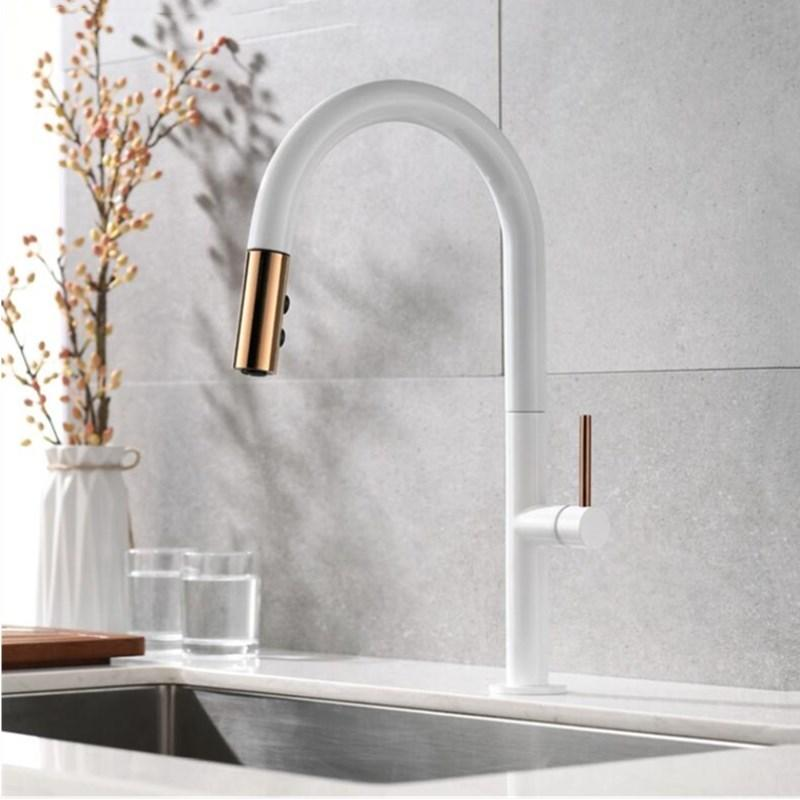 Kitchen Faucets.Newly Arrived Pull Out Kitchen Faucet Rose Gold And White Sink Mixer Tap 360 Degree Rotation Kitchen Mixer Taps Tap