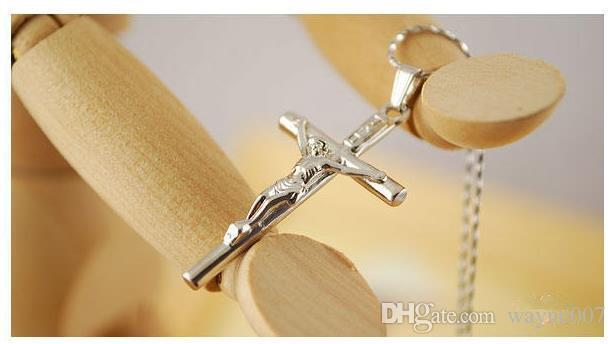 New Cross Necklace Women/Men Jewelry Wholesale Trendy Platinum Real Gold Plated INRI Crucifix Jesus Cross Chain Pendant