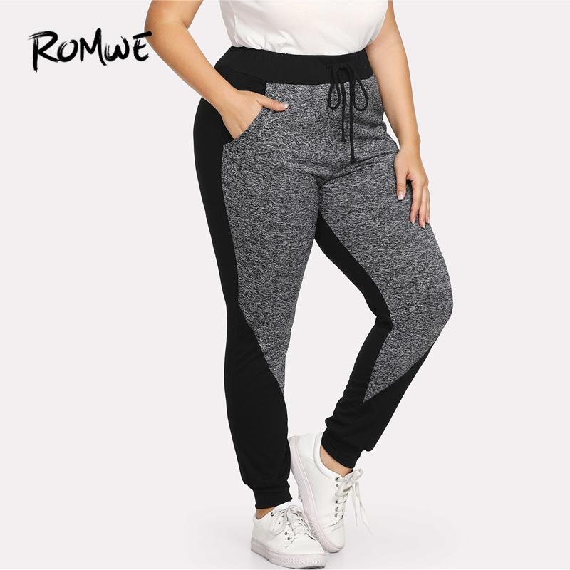 5f477cf804ca52 Acquista Romwe Sport Plus Size Nero E Grigio Coulisse Donna Fitness  Calzamaglia Da Ginnastica 2018 Gym Running Pantaloni Sportivi Yoga Leggings  Da Jogging A ...