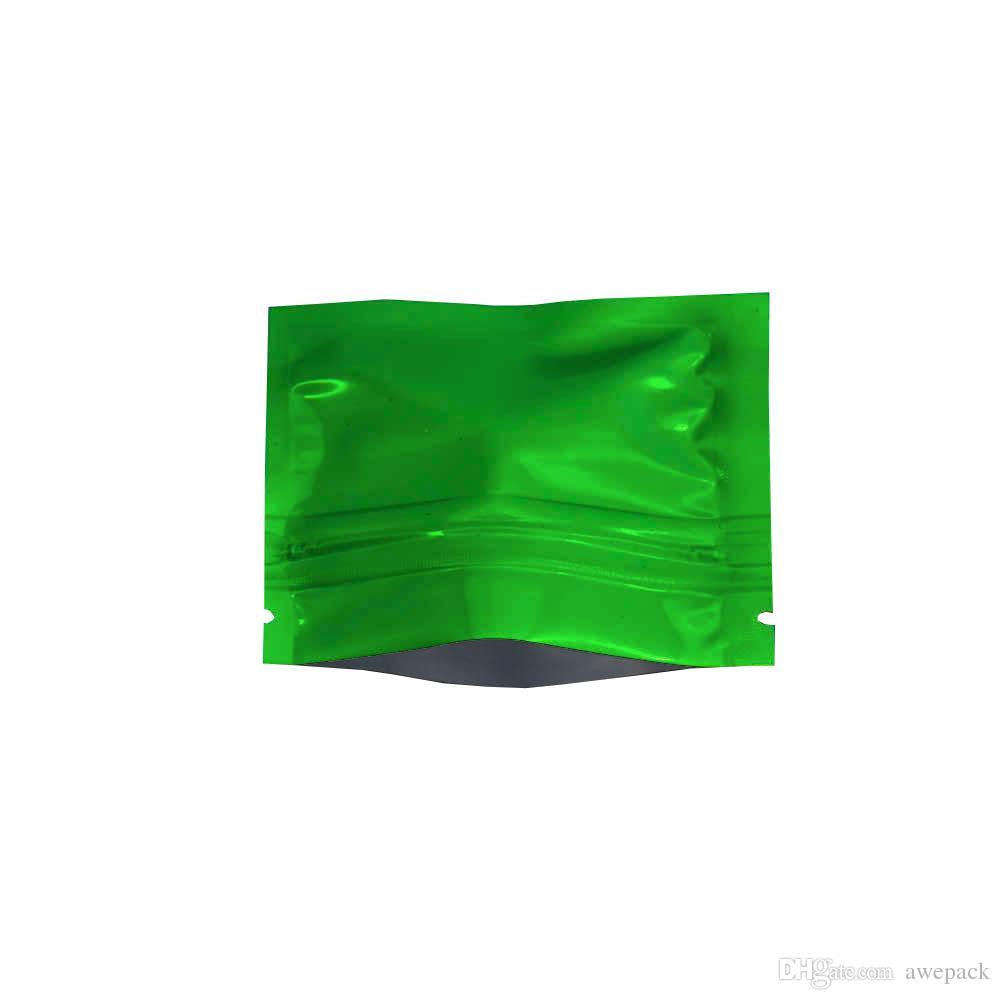 7.5 * 6 cm Yeşil Küçük Mylar Zip Kilit Çanta Isı Yapışmalı Su Geçirmez Alüminyum Folyo Gıda Çay Kahve Koku Depolama ZipLock Ambalaj Çanta