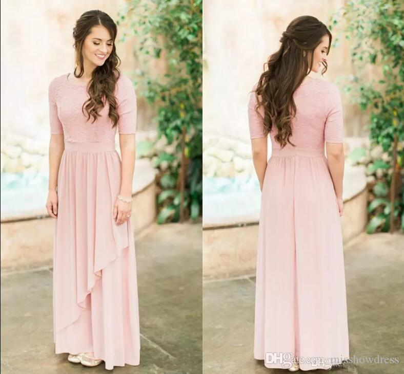 9e37ece11d 2019 Elegant Half Sleeves Chiffon Long Country Bridesmaid Dresses Lace Top  Ruffles Floor Length Maid Of Honor Wedding Guest Dresses Destination Wedding  ...