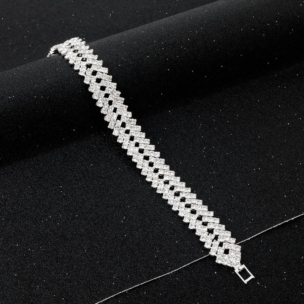 Luxury Crystal Bracelets For Women Silver color Bracelets & Bangles Femme Bridal Wedding Jewelry 2016 Vintage Bracelet SBR150218