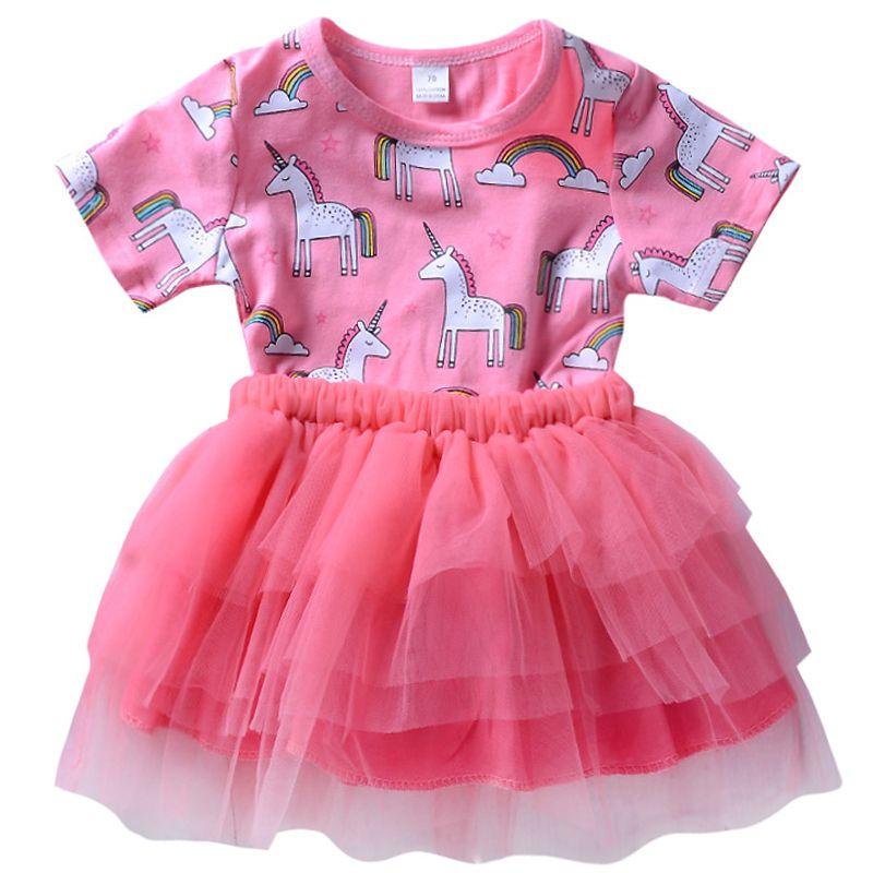 606db10d903 Acheter Filles D été Licorne Imprimer Tutu Robes De Princesse Bébé Fille  Dessin Animé De Fête Robe De Baptême D anniversaire Costume Enfant Enfants  ...