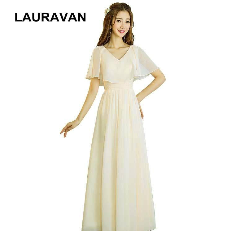 Champagne Colored Embellished Bridesmaid Party Long Womens Dresses