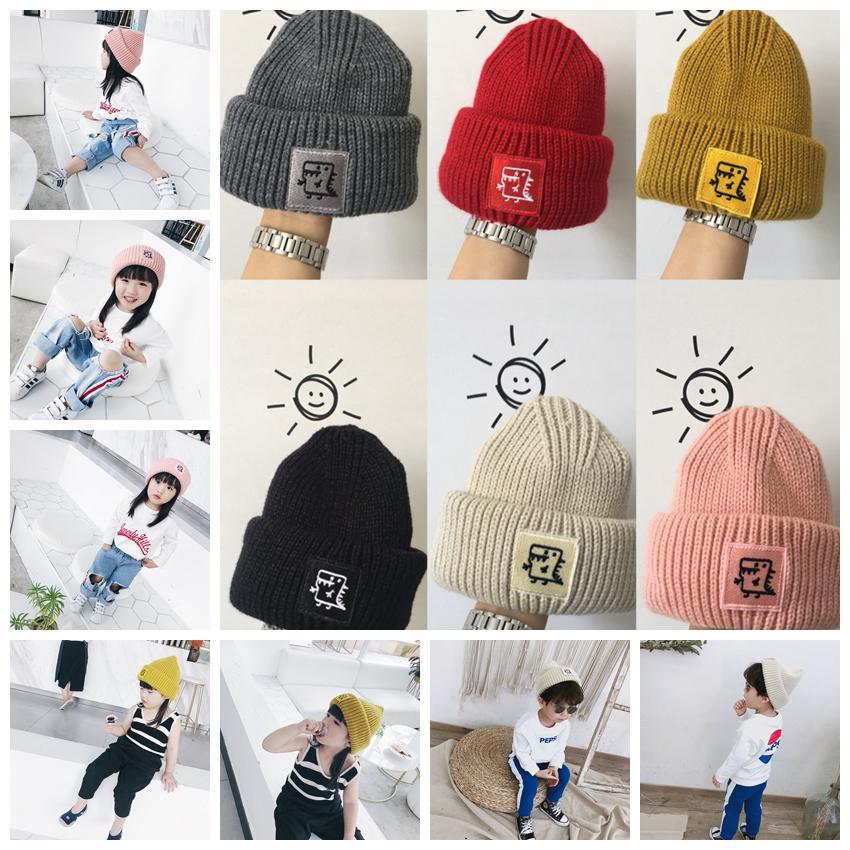 10a2731d3739c Boys Girls Beanies Hats Winter Knitted Cap Dinosaur Designer Kids ...