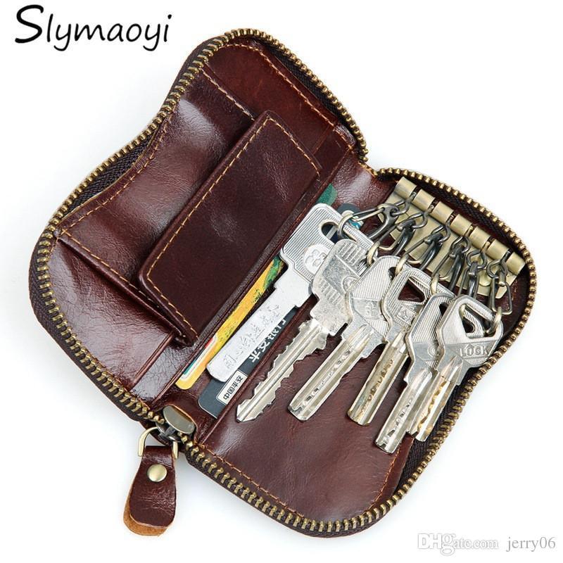 100% Genuine Leather Purse Zipper Key Wallets Women Key Holder Men Car Keys  Bag Men S Key Case Casual Package Head Layer Cowhide Womens Leather Wallets  Nice ... cc30787fa4