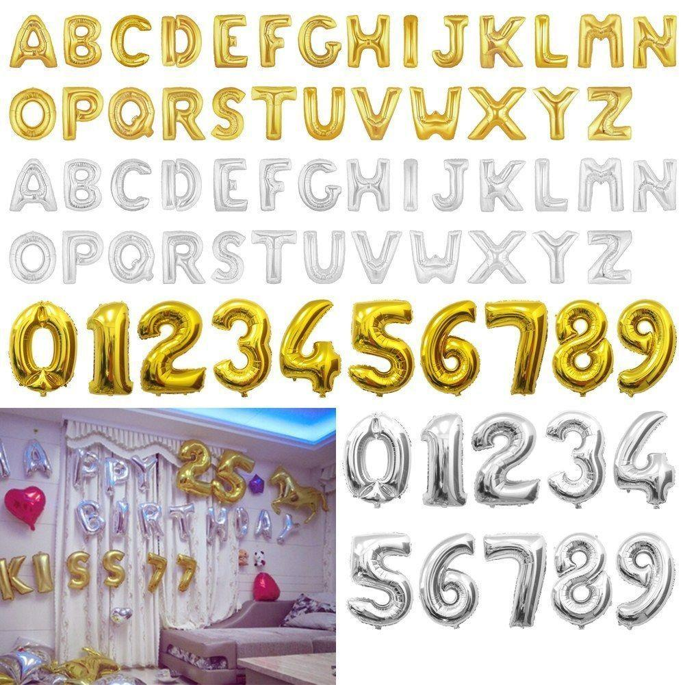 32inch Letter Number Foil Balloons Birthday Wedding Party Decor Gold Silver Inflatable Digital Ballons Supplies FFA585 Inside