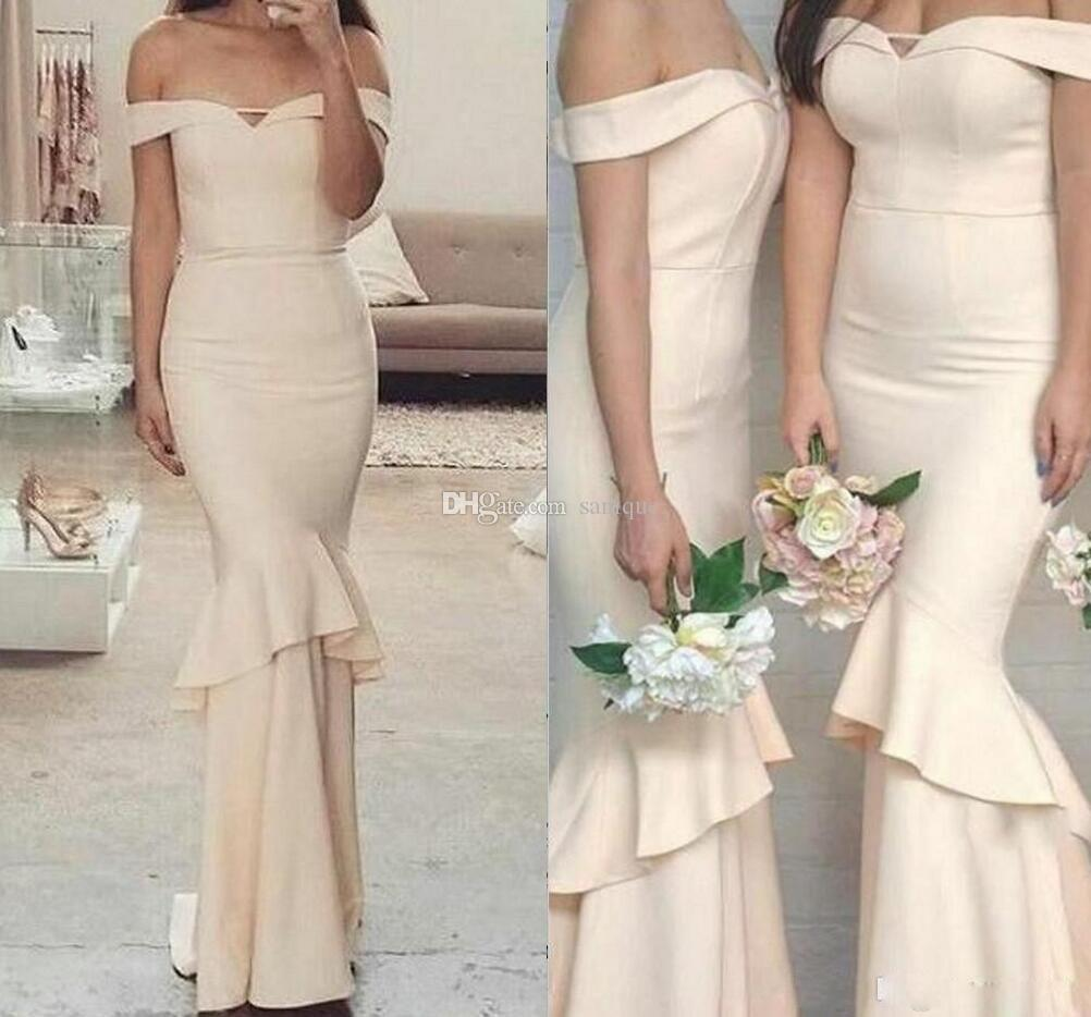 2018 New Long Mermaid Bridesmaid Dresses Simple Off Shoulder Cheap Ruffles Backless Wedding Guest Gowns for Evening Party Gowns