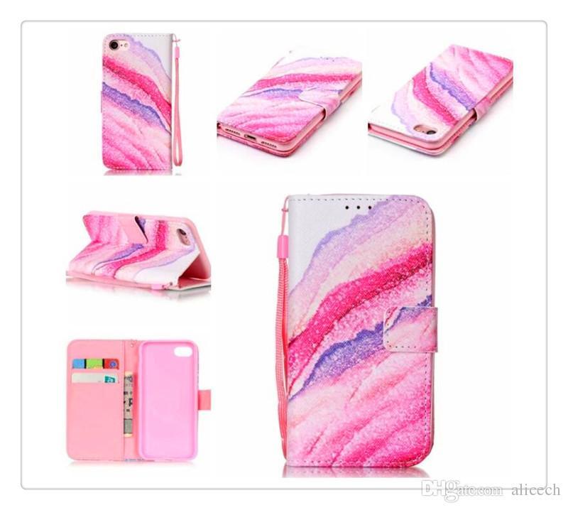 Farbige Zeichnung oder Muster Holster Case für iPhone 6 6 plus s8 s8 plus Stand Design Brieftasche Stil Handytasche Flip Style Cover Fällen