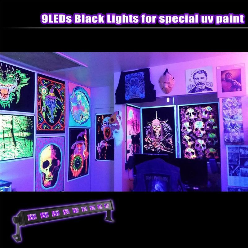 Светодиодные бар черные огни 18 Вт 27 Вт 36 Вт 54 Вт УФ Blacklight светодиодные стены мыть лампы прожектор на Рождество Хэллоуин партии флуоресцентный плакат дискотека
