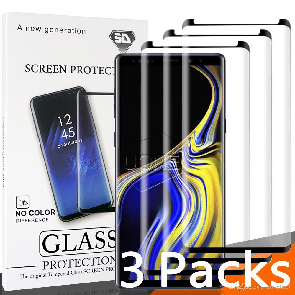 3er Pack für Samsung S9 S9 plus case friendly gehärtetes glas blasenfrei full cover 3d displayschutzfolie samsung note 9 8 s8 s7 mit paket