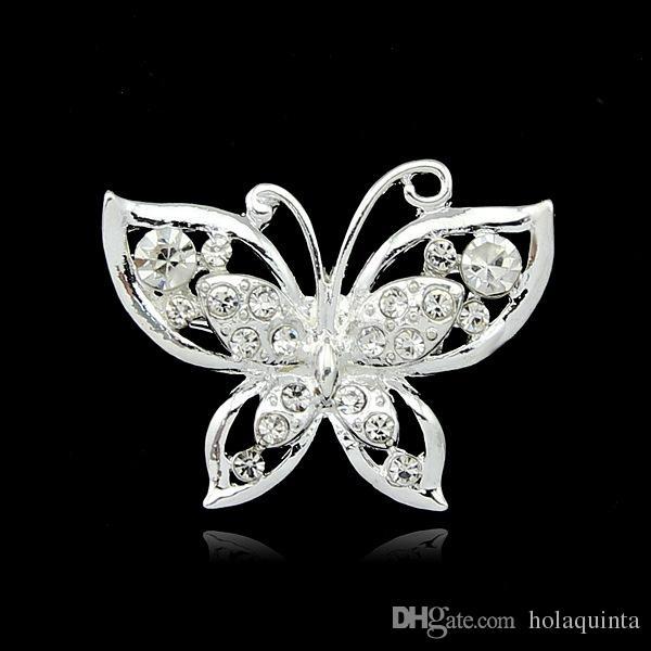 Opal Borboleta Broche por Mulheres Rhinestone Broches Moda Bijutaria Jóias de casamento de prata banhado a Lead Free
