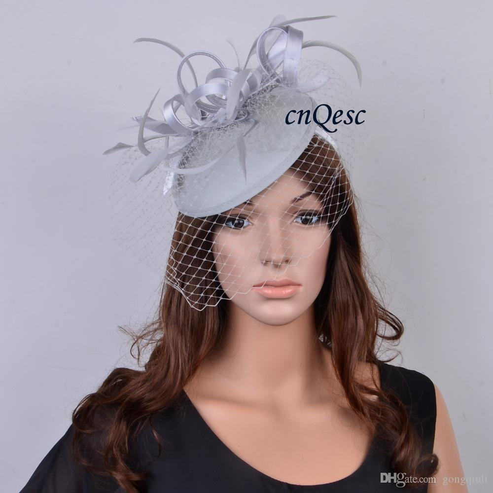 0c249b6d4d873 Silver Grey Sinamay Fascinator Felt Fascinator Wedding Race Carnival  Fascinator With Feathers And Veiling For Wedding