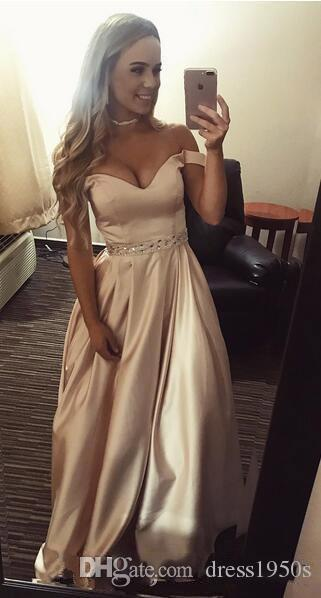 208824fe1a Abendkleider Off The Shoulder Beaded Satin Evening Prom Dresses With Pocket  A Line Satin Long Formal Party Gowns Short Blue Prom Dresses Short Pink Prom  ...