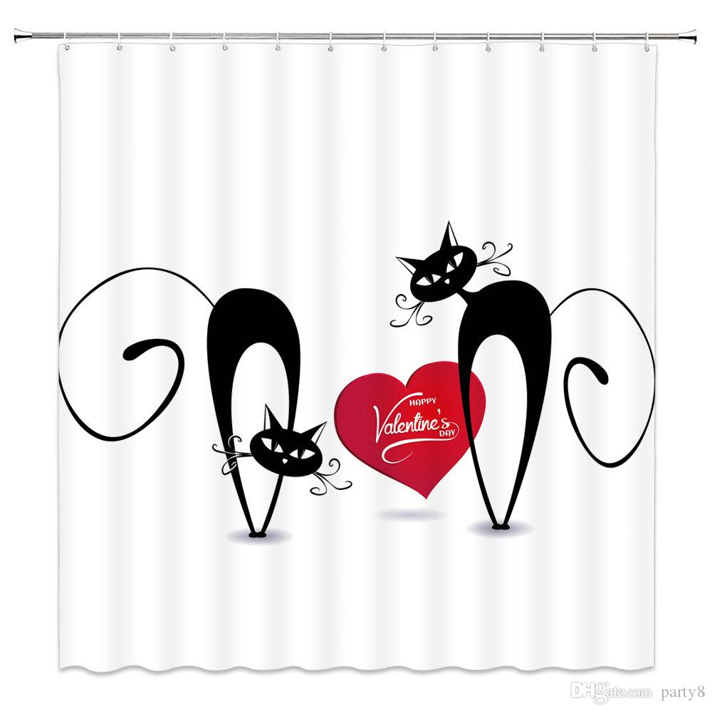 2019 Animal Cartoon Black Cat ValentineS Day Shower Curtains For Bathroom 69 X 70 Inch Polyester Waterproof Home Bath Decor Supplies Curtain From Party8