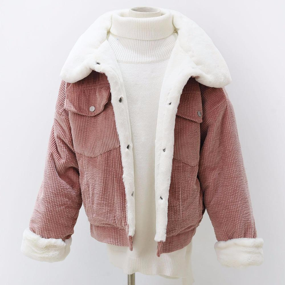 6771cfa98a9 Woman Loose Corduroy Jacket Women New Thick Winter Lambswool Jackets Ladies  Cute Outerwear Coat Warm Parka Female Coats And Jackets Quilted Jacket From  ...