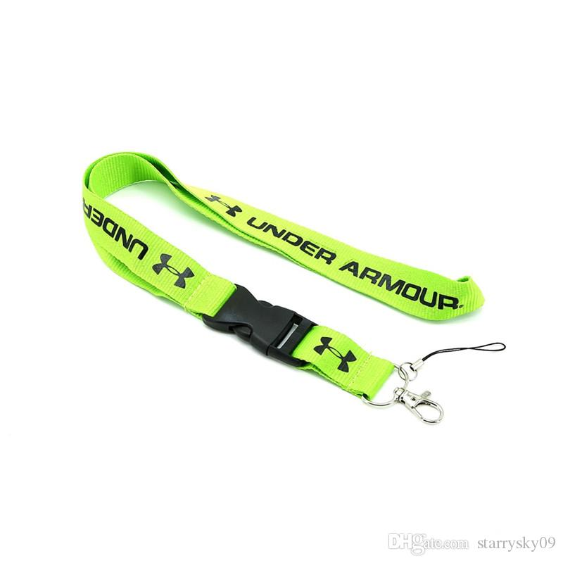 new concept c1b79 254ea Sports brand UA lanyard Strap Keychain IPhone Samsung VIP pass Detachable  Buckle Wholesale many styles 9colors mixed